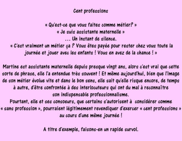 Assistante Maternelle 100 Professions